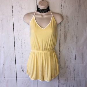 Yellow ribbed halter tie back romper